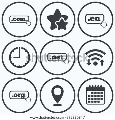 Clock, wifi and stars icons. Top-level internet domain icons. Com, Eu, Net and Org symbols with hand pointer. Unique DNS names. Calendar symbol. - stock vector