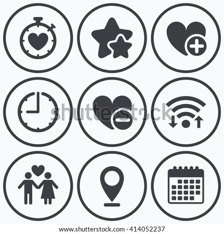 Clock, wifi and stars icons. Valentine day love icons. Love heart timer symbol. Couple lovers sign. Add new love relationship. Calendar symbol. - stock vector