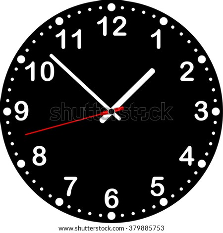 Clock with black dial. Vector illustration. Inverted image white-black 342861107 - stock vector