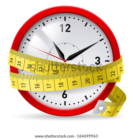 Clock with measuring tape as concept of diet with time limit. - stock vector