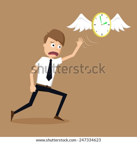 clock with wings fly escape away  from a businessman.vector - stock vector