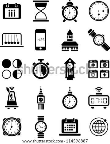 clocks and time icons - stock vector