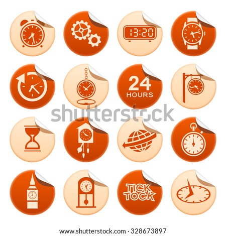 Clocks and watches sticker - stock vector
