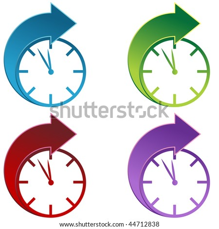 Clocks moving foward isolated on a white background. - stock vector