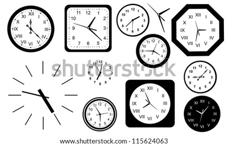 clocks set isolated on white - stock vector