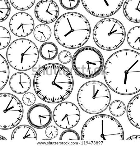 Clocks set pattern - stock vector
