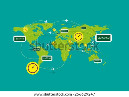 Clocks tick in different continents while Airplanes Flying Over Different time zones could mean flight time, flight delay time, cargo delivery schedule, tracking or more. Flat Illustration eps10. - stock vector