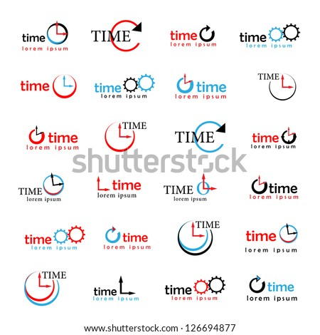 Clocks, Times Symbols Isolated On White Background - Vector Illustration, Graphic Design Editable For Your Design. Time Logo - stock vector