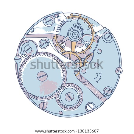 Clockwork. Vector sketch. - stock vector