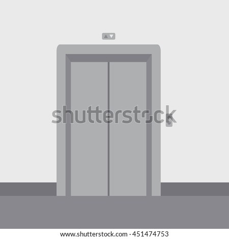 Close elevator doors modern metal, realistic empty hall interior with waiting lift  grey floor ceiling and walls vector illustration - stock vector