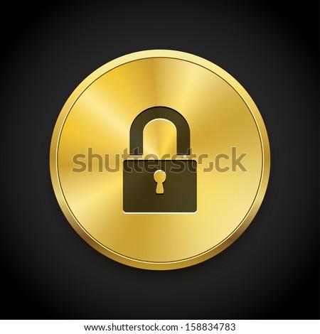 Close lock icon on golden button. Vector background.  - stock vector