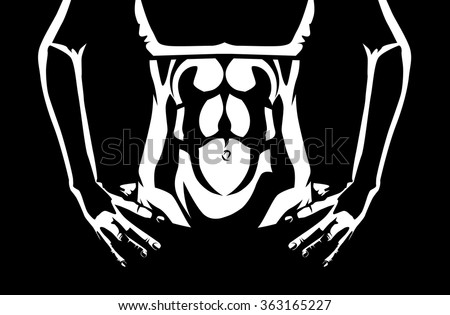 Close up abdominal muscles of healthy woman showing which wearing sportswear. Two tone color illustration about workout and healthy - stock vector