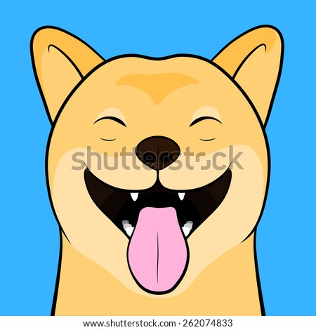 Close up Funny Cartooned Face of a laughing Shiba Inu Dog with Tongue Out Isolated on a Light Blue Background. - stock vector