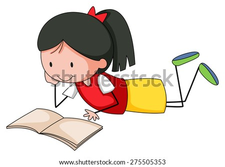Close up happy girl reading a book - stock vector