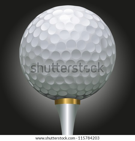 close up illustration of golf ball on a gold tee against a black background - stock vector