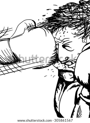 Close up illustration of single boxer hit with glove - stock vector