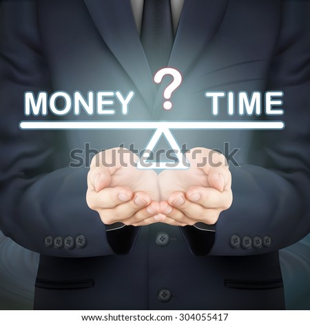 close-up look at businessman holding money and time seesaw - stock vector