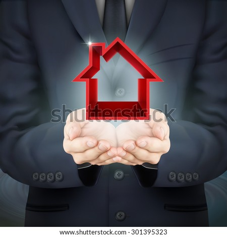 close-up look at businessman holding real estate icon - stock vector