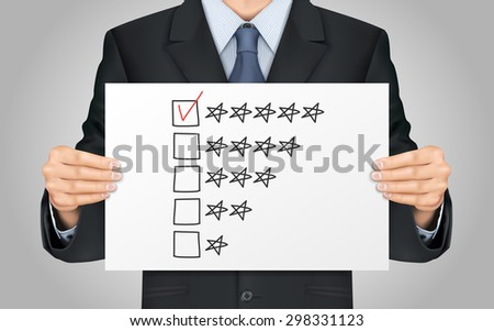 close-up look at businessman holding satisfied with service poster - stock vector