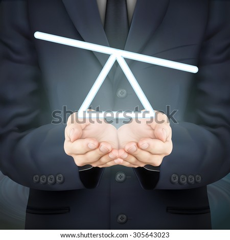 close-up look at businessman holding seesaw icon - stock vector
