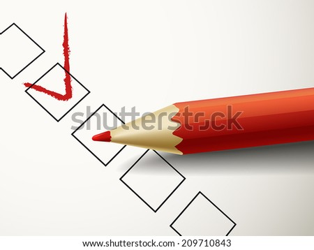 close up look at red pen marking on the check box  - stock vector