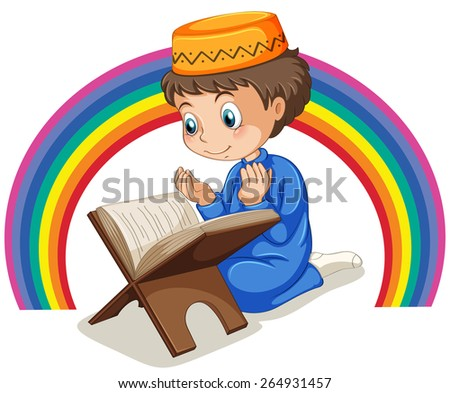 Close up muslim boy praying with rainbow background - stock vector
