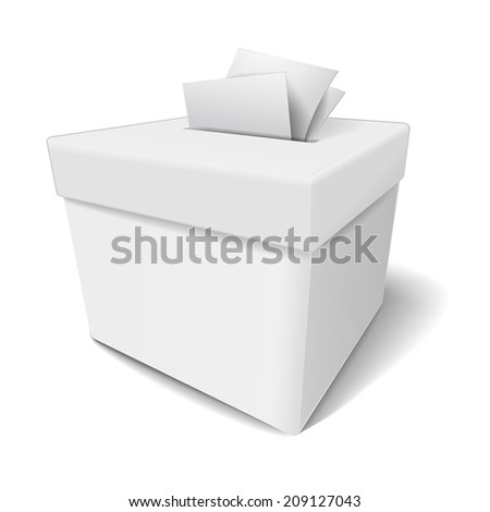 close up of a ballot box and casting vote on white background - stock vector