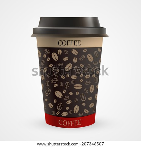 Close up of blank paper coffee cup. Vector illustration - stock vector