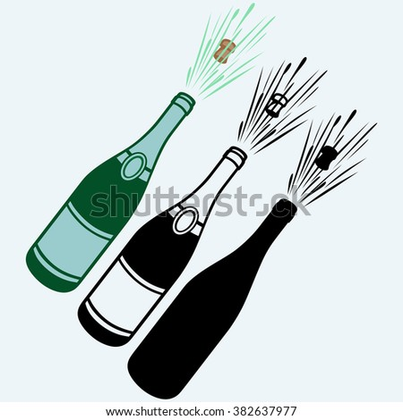 Close-up of champagne explosion. Isolated on blue background. Vector silhouettes - stock vector