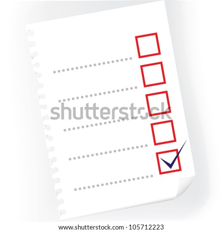 Close up of checkbox notepad paper - illustration - stock vector