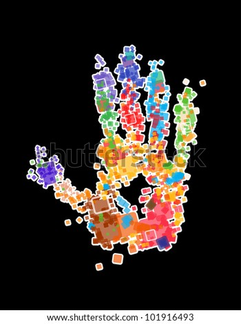 Close up of multicolored Vector X-ray Hand print on black background - stock vector
