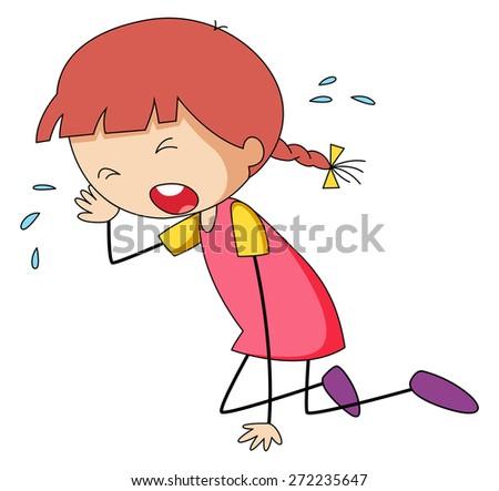 Close up sad girl crying alone - stock vector