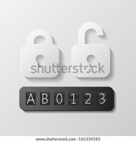 Closed and open lockers with digit and letters code - stock vector