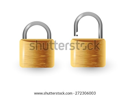 Closed and open vector padlock vector illustration - stock vector