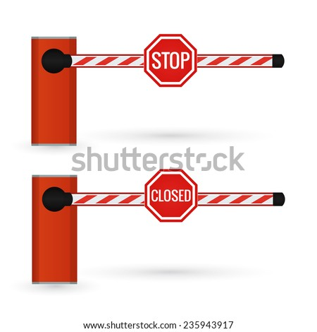 Closed car barrier isolated on white with stop and closed sings.  Vector illustration. - stock vector