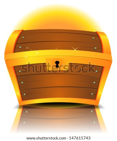 Closed Cartoon Treasure Chest/ Illustration of a cartoon closed treasure chest made with gold and wood with reflection effect - stock vector