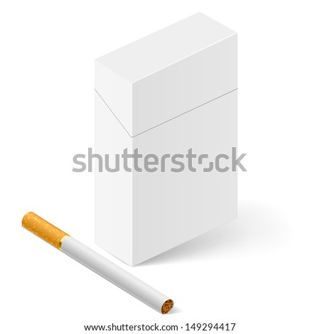 Closed full pack of cigarettes. Illustration on white - stock vector