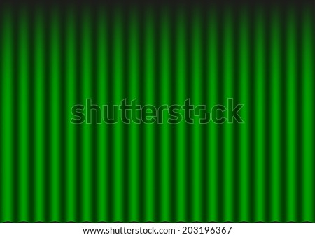 Closed green velvet theater (opera) curtain background - stock vector