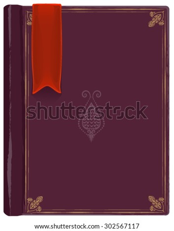 Closed old book with a red bookmark. Illustration in vector format - stock vector