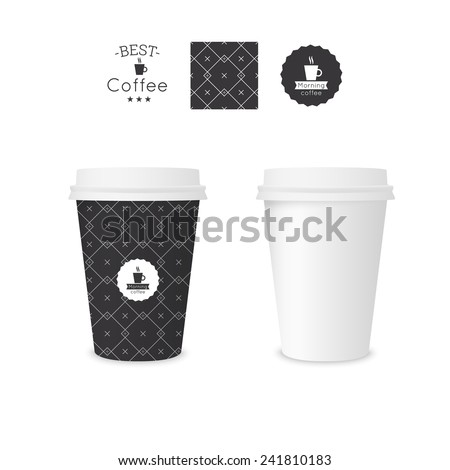 Closed paper cup for coffee with texture. Sample seamless pattern coffee badge. Mock up - stock vector