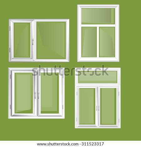 Closed Plastic Window Set - Illustration Window, White, Isolated, Glass - Material, Plastic  - stock vector