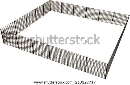 Closed rectangular fence of mesh sections. Vector illustration. - stock vector