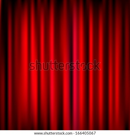 Closed Red Theater Curtain, Silk Background, Vector Illustration - stock vector