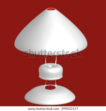 closed table lamp white and gray on a red background. Lamp logo. Lamp icon. Lamp 3D. Lamp Icon Vector / Lamp Icon Picture / Lamp Icon Drawing / Lamp Icon Image / Lamp Icon Graphic / Lamp Icon Art. - stock vector