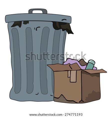 Closed trash can with a box - stock vector