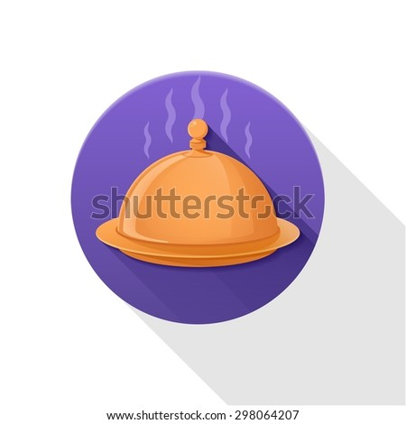 Closed tray flat icon on white background with long shadow. - stock vector