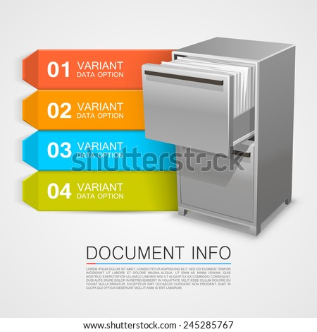 Closet safe with documents info. Vector Illustration - stock vector