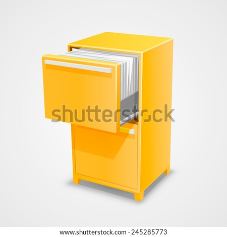 Closet safe with documents. Vector Illustration - stock vector