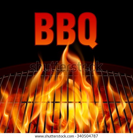 Closeup BBQ grill fire on black background - stock vector