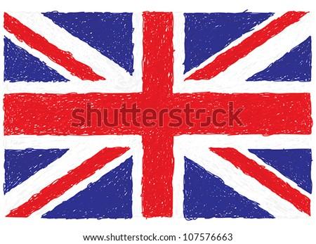closeup illustration of a united kingdom flag. - stock vector
